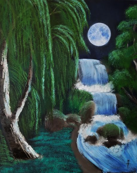 Moonlit Willow-Falls by X-5-4-5-2
