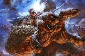 God of War III- Titan Battle by andyparkart