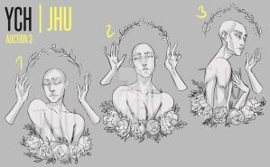 [CLOSED] 3 YCH(peonies) adopt auction | JHU by JHUffizi