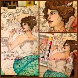 WIP Watercolor Art Nouveau Mermaid