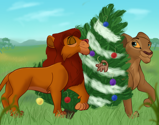 Lions Love Christmas Trees by Fawnadeer