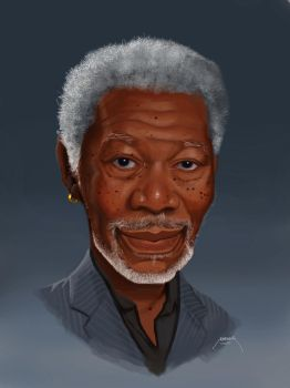 Morgan Freeman - Digital Caricature by makseph