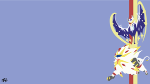Solgaleo and Lunala (Pokemon) Minimalist Wallpaper by slezzy7