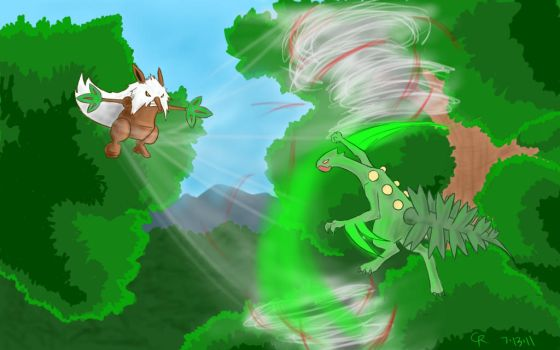 Request: Sceptile vs Shiftry by LuckyNeko13