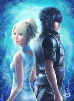 Luna and Noctis by Emeraldus