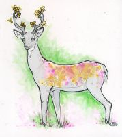 Violet the Deer ::Ink Drawing:: by lavonia