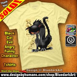 Black Cat Evil Angry Funny Character Tshirts by Bluedarkat