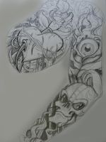 Roughs for tattoo sleeve+panel by chrisxart