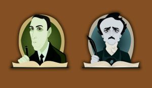 HP Lovecraft Edgar Allan Poe by belledee