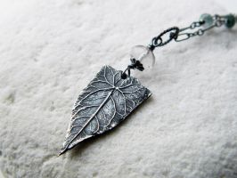 Elven Leaf with palest Amethyst - Fine Silver by QuintessentialArts