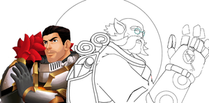 WIP - Paladins Fernando and Torvald (MS Paint) by Grimchease