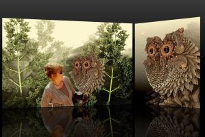 Playing with a fractal owl in a fractal forest by marijeberting