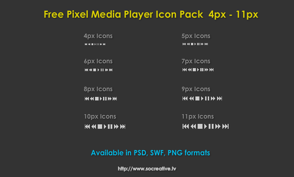 Free Pixel Media Player Icons by socreative