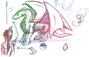 Dragons sketch1 by Saber-Cow