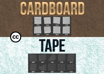 Cardboard and Tape Photoshop Brushes by BloodFury99