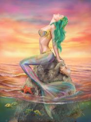 Beautiful fantasy Mermaid At Sunset by AlenaLazareva