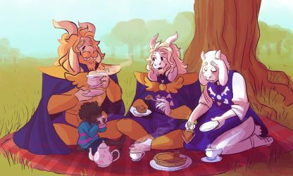 Goat family picnic by PeppermintFrappe