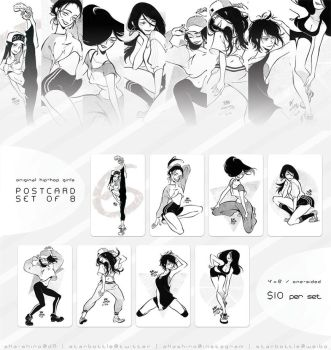 Original Hip-Hop Girls Postcard Set of 8 by Aka-Shiro