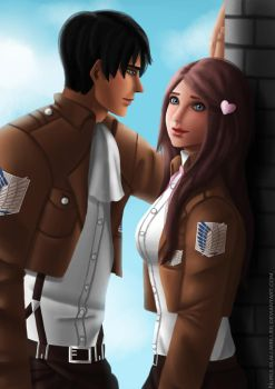 Rivaille and Piwy by NurulSlaluwBluee