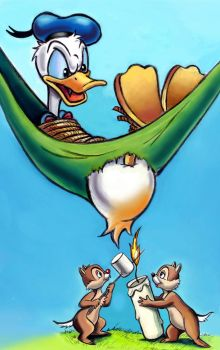 Donald Duck, Chip 'n' Dale by zdrer456