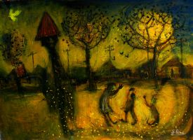 'mother And Children At The Park' 90cmx70cm11 by glenox66