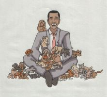 Barack Obama picks a puppy by angelacapel