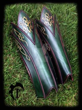 Elvish leather greaves by Feral-Workshop