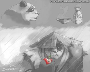 Warcraft - Pandaren and Apple by SamwiseDidier