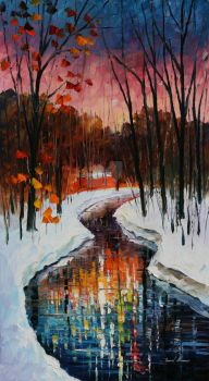Winter stream by Leonid Afremov