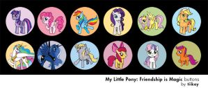 My Little Pony: FiM Buttons by tiikay