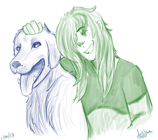 A goober and his dog by waywardJellyfish