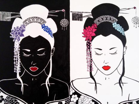 Two Sides of a Geisha by Onika-art