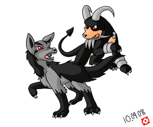 Mightyena and Houndoom by SneakingSniper