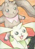 Terriermon and Lopmon by sp200