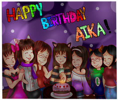 .:Collab/Gift:. Happy B-Day, Aika!~ by Cookie-Luiginoid