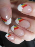 Rainbow nail art by Zomijas