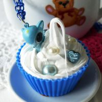 Blue Fawn Cupcake Necklace by AndyGlamasaurus