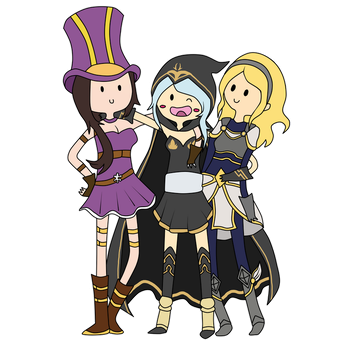 Caitlyn, Ashe and Lux by Nightokun