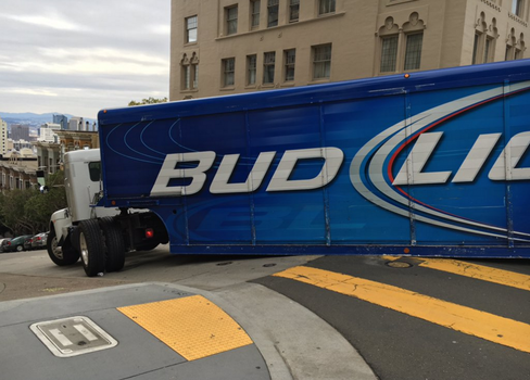 Bud Light Truck Stuck On San Francisco Slopes. by FutureWGworker