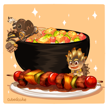 Overwatch Food Set - Anyone want some BBQ? by CubedCake