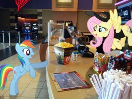 Fluttershy Working in Concession by EMedina13