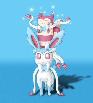 Sylveon and Furret by EvanDaMaster