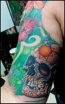 Sugar Skull and flowers by catbones