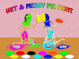 pie fight with colorful pies by sg19001