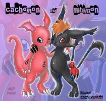 cachomon and nibimon by MarisaArtist