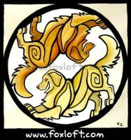 Ying Yang Golden Retrievers by Foxfeather248