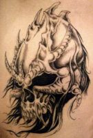 demon skull tattoo by Metamorphine