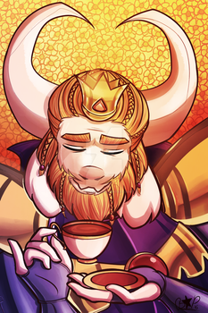 Tea time with Asgore by Blustarpilot