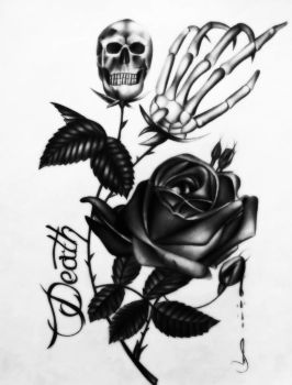 Drawing pink with skull, tattoo with style by jhonatan23
