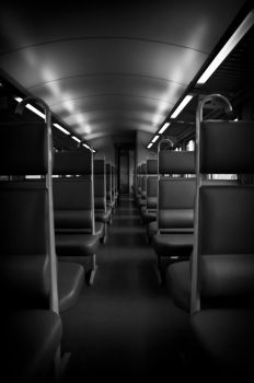 Alone in the train by Pouchou